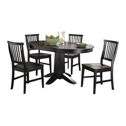 "Home Styles - Home Styles Arts and Crafts 5 Piece Dining Set in Black Finish - Home Styles - Dining Sets - 5181308 - Mission Styling at its best! The Arts and Crafts Five Piece Dining Set is an economical solution capable of adapting to a variety of settings. Constructed of hardwood solids and engineered wood in a warm multi-step Black finish the Round Dining Table can be accessorized either formally or informally to create any desired atmosphere. The 16"" leaf expands the table top from 42"" to 58"" providing enough space for two additional chairs. The Arts and Crafts Dining Chairs are constructed of hardwood solids and can be purchased in addition to the four included in the set in two pack quantities. Five piece set includes the dining table and four dining chairs."