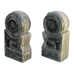 Golden Lotus - Pair Lotus Hand Carved Stone Chinese Fengshui Drum Statues - This is a pair of Chinese drum statue which is made of solid stone.  It can be put at the front of house or garden.  Especially, the drum comes with detail lotus carving on it.