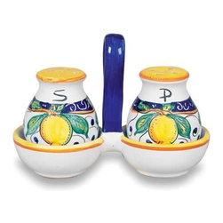 Ceramic - Umbria - Italian Lemons Salt and Pepper with Tray - Umbria - Italian Lemons Salt & Pepper Set with Tray