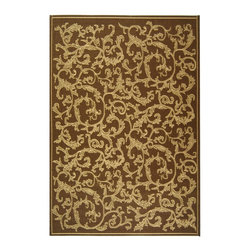 "Safavieh - Courtyard Brown Area Rug CY2653-3009 - 7'10"" x 11' - Safavieh takes classic beauty outside of the home with the launch of their Courtyard Collection. Made in Belgium with enhanced polypropylene for extra durability, these rugs are suitable for anywhere inside or outside of the house. To achieve more intricate and elaborate details in the designs, Safavieh used a specially-developed sisal weave."