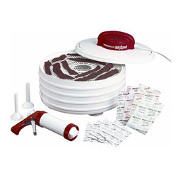 Nesco Jerky Xpress Dehydrator Kit - Believe it or not, I have never tried jerky. I plan on trying it out myself with this jerky maker. Nothing is better than your own homemade goods, and this patented drying technology dries fast and evenly in hours.