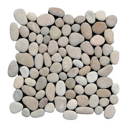 Design For Less - Tan Pebble Tile - Bring a touch of the exotic into your home with Indonesian taupe and tan pebbles, harvested on the island of Timor in Southeast Asia. Hand assembled into tiles backed by a mesh fabric, you'll find easy applications are at hand whether you're tiling a shower, bathroom floor or outdoor landscape.