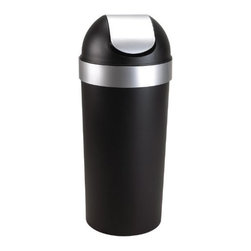Umbra - Umbra Venti Polypropylene Swing-top Waste Can - The Venti waste can by Umbra offers a sleek, modern design in black with brushed metallic accents. Constructed of durable polypropylene with a swing-top lid and removable collar that secures and hides the can liner.