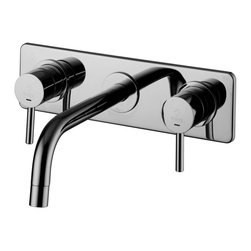 WS Bath Collections - WS Bath Collections Light LIG 102 Wall Mounted Bathroom Faucet with Long Spout - Light LIG 100 by WS Bath Collections, Concealed Two Handle Bathroom Faucet with Rectangular Wall Plate