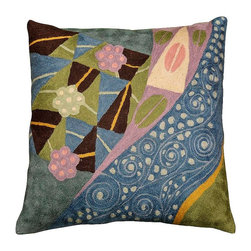 """Modern Wool - Klimt Blue Seed Elements Cushion Cover Hand Embroidered 18"""" x 18"""" - Klimt Blue Seed Elements Cushion Cover hand embroidered - Celebrate Spring with this pillow cover! Flowers, seeds, seed pods, and maybe even a pair of pink lips (Gustav Klimt was all about 'The Kiss') adorn this gorgeous natural fabric, hand-embroidered, wool, chain stitch pillow cover. This unique accent pillow cover design is fashioned after the modern art of Gustav Klimt. Chain stitch is a refined form of hand worked crewel embroidery produced by the finest Kashmiri artisans. The entire cotton base of the pillow is overlaid with soft wool, stitch by stitch, creating an extraordinary show piece for your decor. This is world-class workmanship created to enhance your world with dynamic color and motif."""