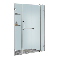 Vigo - 54in.  Frameless Shower Door 3/8in.  Clear Glass Chrome Hardware - Experience fine quality combined with superior design in a VIGO frameless shower door.
