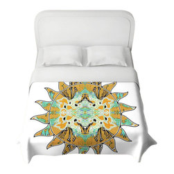 DiaNoche Designs - Silhouette Sun 3 Duvet Cover - Lightweight and super soft brushed twill duvet cover sizes twin, queen, king. Cotton poly blend. Ties in each corner to secure insert. Blanket insert or comforter slides comfortably into Duvet cover with zipper closure to hold blanket inside. Blanket not Included. Dye Sublimation printing adheres the ink to the material for long life and durability. Printed top, khaki colored bottom. Machine washable. Product may vary slightly from image.