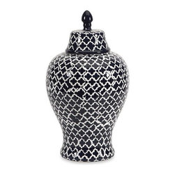 iMax - Layla Large Urn - The blue and white quatrefoil patterned large Layla urn adds a chic vibe to any room.