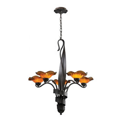 ELK Lighting - Five Light Weathered Rust Amber Glass Up Chandelier - Five Light Weathered Rust Amber Glass Up Chandelier