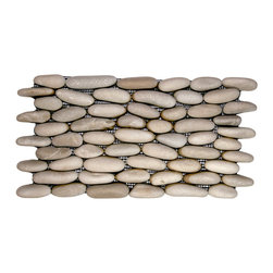 "CNK Tile - Java Tan Standing Pebble Tile - Each stone is carefully selected and hand-sorted according to color, size and shape in order to ensure the highest quality pebble tile available.  The stones are attached to a sturdy mesh backing using non-toxic, environmentally safe glue.  Because of the unique pattern in which our tile is created they fit together seamlessly when installed so you can't tell where one tile ends and the next begins!     Usage:    Shower walls, bathroom walls, general wall covering, backsplashes, swimming pools, patios, fireplaces and more.  Interior & exterior. Commercial & residential.     Details:     Sheet Backing: Mesh   Sheet Dimensions: 6"" x 12""   Pebble size: Approx 3/4"" to 2 1/2""   Thickness: Approx 3/8""   Finish: Natural Tan"