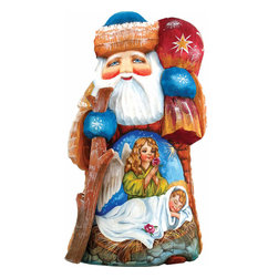 """Artistic Wood Carved Wonderful Wish Santa Claus Nativity Sculpture - Measures 6.5""""H x 3.5""""L x 3.5""""W and weighs 1 lb. G. DeBrekht fine art traditional, vintage style sculpted figures are delightful and imaginative. Each figurine is artistically hand painted with detailed scenes including classic Christmas art, winter wonderlands and the true meaning of Christmas, nativity art. In the spirit of giving G. DeBrekht holiday decor makes beautiful collectible Christmas and holiday gifts to share with loved ones. Every G. DeBrekht holiday decoration is an original work of art sure to be cherished as a family tradition and treasured by future generations. Some items may have slight variations of the decoration on the decor due to the hand painted nature of the product. Decorating your home for Christmas is a special time for families. With G. DeBrekht holiday home decor and decorations you can choose your style and create a true holiday gallery of art for your family to enjoy. All Masterpiece and Signature Masterpiece woodcarvings are individually hand numbered. The old world classic art details on the freehand painted sculptures include animals, nature, winter scenes, Santa Claus, nativity and more inspired by an old Russian art technique using painting mediums of watercolor, acrylic and oil combinations in the G. Debrekht unique painting style. Linden wood, which is light in color is used to carve these masterpieces. The wood varies slightly in color."""