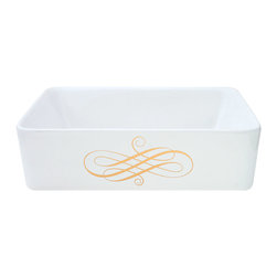 Decorated Porcelain Company - Elegant Swirl Hand Painted Sink - Real metallic Elegant Gold Swirl can be combined with any bathroom style from ornate and traditional to ultra-modern. On a white rectangle vessel sink. All of our fixtures are hand-made to order in the USA and kiln-fired for long-lasting durability. Can be adapted to many sink styles. Visit our website for details.