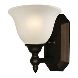 Z-Lite - Z-Lite 904-1V Clayton 1 Light Bathroom Sconce - Give your home a touch of stately elegance with the classic Clayton lighting family. The simple detailing and clean lines of this one light vanity fixture is finished in bronze with an antique ivory glass shade.Specifications: