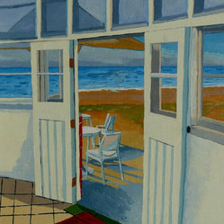 The Seaview Cafe - This charming cafe scene will be so inviting on your wall. You'll love the idea that you're looking out on the beach from the comfort of your own home. Artist Anthony Dunphy perfectly captures the peace of this beachside cafe in this acrylic painting.