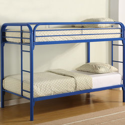 Coaster - 2256B Twin/Twin Bunk Bed - Blue - With safety in mind, this twin over full bunk bed will also create a fun and inviting bedroom atmosphere for your little one. Full length guard rails offer security, while the built in ladders on each side provide convenience. High gloss finishes in white, blue, black, and red allow you to choose the perfect look for your child's individual style.