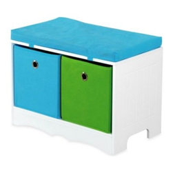 Hds Trading Corporation - HDS Trading 2-Drawer Storage Bench with Cushioned Top - This kid's cushioned storage bench provides a decorative storage space for books, toys and other belongings. It has a white fiberboard construction with multi-colored canvas drawers.