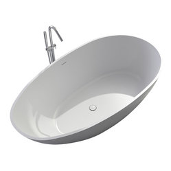 Matte White Stand-Alone Resin Bathtub