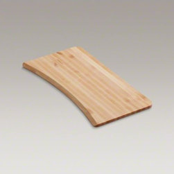 KOHLER - KOHLER Hardwood cutting board for Brookfield(TM) and Lakefield(TM) kitchen sinks - Crafted from beautiful, durable hardwood, this cutting board features a gently curved shape. It has been specifically sized to rest on the edge of Brookfield and Lakefield sinks, allowing you to prepare foods and easily slide the scraps straight into the basin.