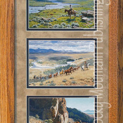 Rocky Mountain Publishing - River Country, Clark Kelley Price Western Art Framed Set - Spring  has  arrived  in  this  collection  of  western  art  for  River  Country  Triple.  Three  different  Clark  Kelley  Price  paintings,  each  with  a  river  in  the  backdrop,  are  combined  together  in  a  single  frame.  An  example  of  landscape  art  at  its  finest,  these  images  combine  the  beauty  of  the  west  in  three  distinct  images  that  all  feature  the  river  valley.  The  first  shows  the  meadow  in  full  bloom  as  the  river  winds  its  way  through.  The  second  shows  the  river  in  the  desert  as  a  round-up  passes  by,  and  the  final  shows  the  complete  majesty  that  is  the  river  as  it  meets  mountain.  This  art  piece  combines  the  beauty  of  nature  with  the  simplicity  of  simple  moments  in  western  life.                  Dimensions:  Glass  and  Matting  measure  10x20  inches;  Exterior  Frame  dimensions  approximately  16x26  inches              Handsomely  matted  and  framed;  Glass  included              Hardware  for  hanging  is  pre-installed              Treated  with  a  protective  coat  of  acid-free  sealant              Artist:  Clark  Kelley  Price;  Allow  2  weeks  for  shipping