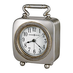 Howard Miller - Howard Miller Kegan Quartz Alarm Clock - Howard Miller - Alarm Clocks - 645615 - This vintage alarm clock is in the carriage style and has a smart retro stylishness to it. Distinguished by its beaded dial frame classic pewter handle and round button feet the Kegan has a definitive charm to it. An illuminated dial with classic numerals spade hands and a separate alarm hand pair with crescendo (rising) alarm quartz movement to complete the appeal of the Kegan Quartz Alarm Clock.