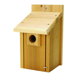Hiatt Manufacturing - Bluebird House - Perfect for Bluebirds, Tree Swallows, Titmice, Wrens, Chickadees and Nuthatches! The handcrafted Bluebird House has a predator guard on the entrance hole and lockable front door to keep predators out of the nesting box.