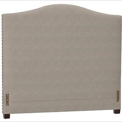 """Raleigh Nailhead Camelback Headboard, King, Washed Linen/Cotton Stone - Crafted by our own master upholsterers in the heart of North Carolina, our upholstered bed and headboard is available in a graceful camelback silhouette. Crafted with a kiln-dried hardwood frame. Headboard, footrail and siderails are thickly padded and tightly upholstered with your choice of fabric. Nailhead detail trims the outer edges of the headboard. Exposed block feet have a hand-applied espresso finish. Headboard also available separately. The headboard-only option is guaranteed to fit with our PB metal bedframe using the headboard hardware. Bed is designed for use with a box spring and mattress. This is a special-order item and ships directly from the manufacturer. To see fabrics available for Quick Ship and to view our order and return policy, click on the Shipping Info tab above. This item can also be customized with your choice of over {{link path='pages/popups/fab_leather_popup.html' class='popup' width='720' height='800'}}80 custom fabrics and colors{{/link}}. For details and pricing on custom fabrics, please call us at 1.800.840.3658 or click Live Help. View and compare with other collections at {{link path='pages/popups/bedroom_DOC.html' class='popup' width='720' height='800'}}Bedroom Furniture Facts{{/link}}. Crafted in the USA. Full: 57.5"""" wide x 83.5"""" long x 59"""" high Queen: 64.5"""" wide x 88.5"""" long x 59"""" high King: 80.5"""" wide x 88.5"""" long x 59"""" high Cal. King: 74.5"""" wide x 92.5"""" long x 59"""" high Full: 57.5"""" wide x 4.5"""" thick x 59"""" high Queen: 64.5"""" wide x 4.5"""" thick x 59"""" high King: 80.5"""" wide x 4.5"""" thick x 59"""" high Cal. King: 74.5"""" wide x 4.5"""" thick x 59"""" high"""