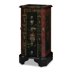 "China Furniture and Arts - 33 in Tibetan Flower Motif Jewelry Chest - This beautiful wooden jewelry chest has a mirrored lift-top with two felt-lined trays for rings . Six spacious felt-lined drawers each measuring 8.75""W x 16.25""D x 1.75""H are in the middle. Hooks for necklaces are behind two side doors. Features a hand painted Tibetan flower motif throughout the cabinet on a matte black background. Hand forged brass hardware. The top interior compartment measures 9""W x 10.75""D x 2.75""H. A perfect gift for every woman. Fully assembled."