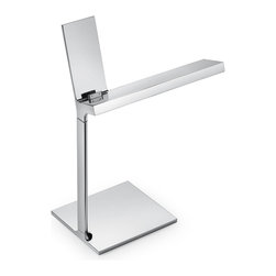 Flos Lighting - D E-Light Led Table Lamp - D'E-Light LED table lamp features a chrome finish. Features optical On/Off switch with Soft Touch technology and light flow adjustment to 2 intensities (100-50-0 percent). Features a plug on the head dedicated to charge iPod, iPhone 4 and iPad. Not dimmable. Includes 14 flat panel top, 85 CRI 2700K LED lamps totaling 5 watts. General light distribution. 8.5W x 12.48H.
