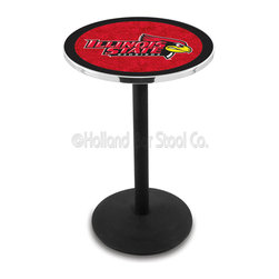 Holland Bar Stool - Holland Bar Stool L214 - Black Wrinkle Illinois State Pub Table - L214 - Black Wrinkle Illinois State Pub Table belongs to College Collection by Holland Bar Stool Made for the ultimate sports fan, impress your buddies with this knockout from Holland Bar Stool. This L214 Illinois State table with round base provides a commercial quality piece to for your Man Cave. You can't find a higher quality logo table on the market. The plating grade steel used to build the frame ensures it will withstand the abuse of the rowdiest of friends for years to come. The structure is powder-coated black wrinkle to ensure a rich, sleek, long lasting finish. If you're finishing your bar or game room, do it right with a table from Holland Bar Stool. Pub Table (1)