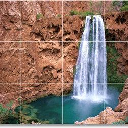 Picture-Tiles, LLC - Waterfalls Photo Kitchen Tile Mural W099 - * MURAL SIZE: 18x24 inch tile mural using (12) 6x6 ceramic tiles-satin finish.
