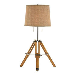Trans Globe Lighting - Trans Globe Lighting RTL-8785 Table Lamp In Wood and Polished Chrome - Part Number: RTL-8785