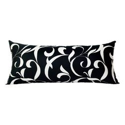 "BH Decor - Black & White Swirl Sateen Body Pillow Cover 20""x54"" - - 20""x54"""
