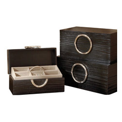 Global Views - Artisan Jewelry Box - Black/Nickel - Large - Hand carved wood with nickel round bamboo handle. Linen covered interior with removable tray and half round nickel bamboo handle.