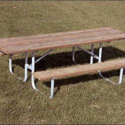 Fifthroom - Heavy-Duty Double Accessible Picnic Table - Our 8' long, Heavy-Duty Double Accessible Picnic Table is perfect for a day of food and fun at the park.  With its strong, sturdy construction, it's tough enough for the whole gang, and all the food they can eat, including the fixings.  This table is made from your choice of pressure treated Pine, untreated Pine, Redwood-stained Pine, or recycled plastic planks, on a welded, galvanized steel frame, and is accessible to wheelchairs at both ends.