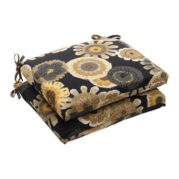 Pillow Perfect - Squared Black/ Yellow Floral Outdoor Seat Cushion - Update the look of your patio furniture with this stylish outdoor seat cushion. The bright floral pattern will easily match any furniture set, while the thick cushion will provide you with comfortable seating so that you can sit painlessly for hours.