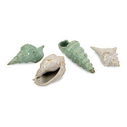 iMax - Sea Shells Collection, Set of 4 - Aqua and white ceramic shells come in a set of four and look great in any coastal setting.