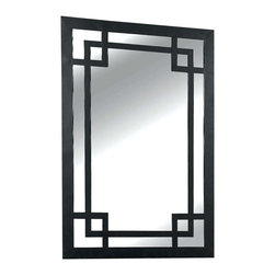 Kenroy - Kenroy 60097 Jacob Rectangular Framed Wall Mirror - This metal, Dark Bronze finished frame contrasts strong lines in a pleasing geometric arrangement against is mirrored background.  Overall Product Dimensions:  42 Inch Height, 28 Inch Width  Mirror Size:  39 Inch Height, 26 Inch Width Silver Mirror