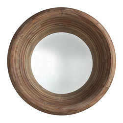 """Kathy Kuo Home - Modern Rustic Solid Acacia Wood 40""""D Deep Convex Mirror - Look deep, deeper, deeper… into the deeply set convex mirror and see a wider perspective framed in gorgeous acacia wood.  Rustic, modern or even vintage inspired spaces will love to have this piece gracing the walls."""