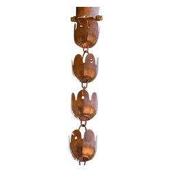 "Monarch International Inc - Copper Sundrop Rain Chain 8.5 Ft - Monarchrainchains Pure copper Sundrop rain chain is 8.5 ft in length and comes with its own 4"" triangular gutter installer and installation is easy.  The Sundrop rain chain is one of our top selling medium cup rain chains and is an assembly of 27 cups linked together.  Each copper cup is 2.5"" X 2.5"" and is very efficient in function in areas of moderate rain fall.  However in areas of heavy rain fall there will be some splashing associated with this style.  The Sundrop rain chain is a classic rain chain and lends itself to any home style so do partake of the pleasure a rain chain can bring to your home and get mezmerized by the beauty of rain water as it is transported down the length of the rain chain."
