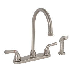 """PREMIER - Sanibel Kitchen Faucet 2 Handle With Spray Brushed Nickel Lead Free 120174LF - Cast brass body, Dependable ceramic disc technology, 1/4 turn operation, 8"""" centers, 1/2"""" IPS connections, LEAD FREE - Manufacturer: Premier Faucet - SECURITY - SECURITY DEVICES - LOCKS & LOCKSETS - CLASSROOM LOCKSET."""