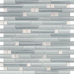 Zen Sky-blue Polished & Frosted Random Bricks Marble & Glass Mosaic Tiles,Sheet - Random Bricks Pattern Zen Sky Blue Polished & Froasted Mesh-Mounted Marble & Glass Mosaic Tile is a great way to enhance your decor with a traditional aesthetic touch. This Mosaic Tile is constructed from durable, impervious Marble & Glass material, comes in a smooth, unglazed finish and is suitable for installation on floors, walls and countertops in commercial and residential spaces such as bathrooms and kitchens.