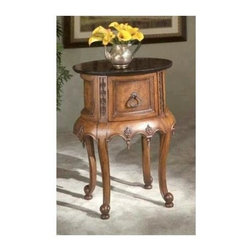 Butler - Accent Table with Black Veneer Top and Single Drawer - This elegant table is both classy and functional, with a handy drawer that can be used for storage. The wood finish makes it an elegant accent with a black veneer top and brass hardware. Intricate carved detailing along the sides and apron combined with curved legs create an elaborate display.