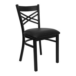 Flash Furniture - HERCULES Series Black ''X'' Back Metal Restaurant Chair with Black Vinyl Seat - Provide your customers with the ultimate dining experience by offering great food, service and attractive furnishings. This heavy duty commercial metal chair is ideal for Restaurants, Hotels, Bars, Lounges, and in the Home. Whether you are setting up a new facility or in need of a upgrade this attractive chair will complement any environment. This metal chair is lightweight and will make it easy to move around. For added comfort this chair is comfortably padded in vinyl upholstery. This easy to clean chair will complement any environment to fill the void in your decor.