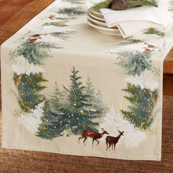 Deer in Snow Table Runner - I love the nostalgic look of this table runner. It has beautiful imagery to adorn your dining room table.