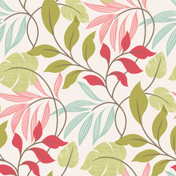 Brewster - 2535-20629 Eden Modern Leaf Trail Tropical Leaves Wallpaper - This freshly exotic wallcovering blooms beauty on walls with an energizing color palette of bright pinks, greens and blues, and a flourishing leaf design that boasts modern charm.