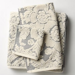 Perpetual Blooms Towels, Light Gray - Add a great textural layer with this lovely set of towels with lovely bloom embossed patterns.