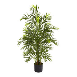 Nearly Natural - 3.5' Areca Palm UV Resistant (Indoor/Outdoor) - At home in your living room as well as your patio, deck or garden, this wonderful Areca palm tree is an ideal piece of natural-looking decor. Standing three and a half feet in height, its multiple trunks and more than 500 leaves are fully UV resistant, making it incredibly versatile. Ideal for both home and office decorating, this eastern delight makes a fine gift as well.