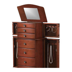 Coaster - Coaster 7-Drawer Jewelry Armoire with Antiqued Hardware - Coaster - Jewelry Armoires - 900125-Subtle elegance characterizes the simple lines and understated details of this jewelry armoire. Drawers and side doors feature a beautiful brown felt lining that coordinates with the warm brown finish on the exterior of the chest. The lining also helps keep mementos, heirlooms and more delicate pieces in top shape while safely tucked away. A lid with mirrored inside lifts up to expose additional compartments for keeping rings, bracelets, earrings and the like neatly in place. Antiqued bronze hardware marches up the front of the chest and lends it a slightly antiqued look you're sure to love.