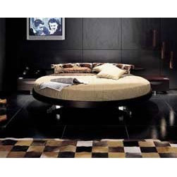 Historie Round Rotating Bed By Vig Furniture - Think outside the box and add an undeniable streak of fun to your bedroom with the Historie Round Rotating Bedroom Set. The one of a kind bed rotates full 360 degrees so you can enjoy viewing every corner of the room. If there is nothing good on TV,spin the bed and enjoy the view on your window. Finished in rich espresso wood veneer,this piece will amass compliments from family and friends and will be a favorite hang out spot for your home. This bed set includes a round mattress,nightstands,and a linear back unit.