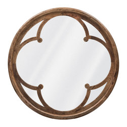 Kathy Kuo Home - Neve Modern Brown Wood Round Large Mirror - Mirrors can reflect light, create the illusion of space and open up your room. This beautiful mirror has a lovely inner frame that adds interest and depth. If you hang it to reflect a window, your space will look bigger and brighter.